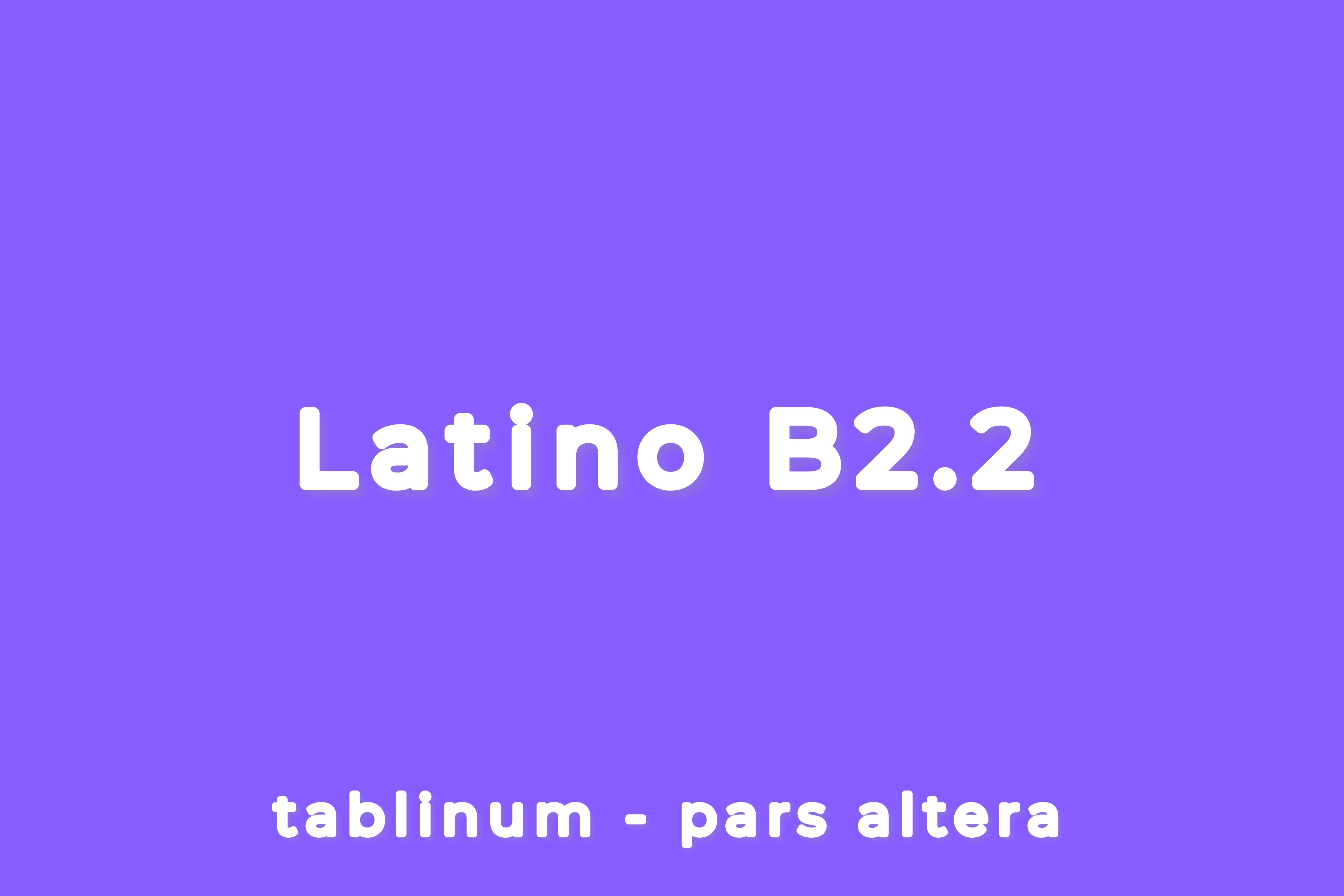 CORSO DI LATINO - LIVELLO B2.2